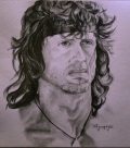 Portrait of Sly - Rambo  by Christos Tziortzis Tattoo Artist
