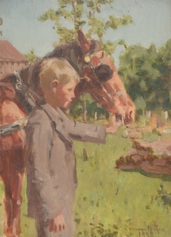Profile Portrait of a Boy with a Horse