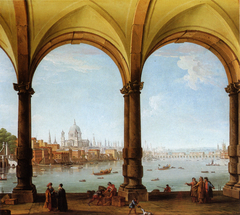Prospect of London from a collonade with a distant view of St. Paul's and Old London Bridge