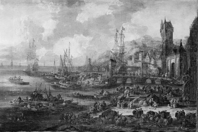Southern Seaport with Numerous Figures on the Shore