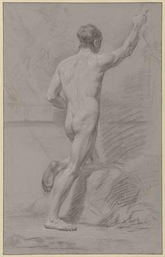 Staand mannelijk naakt, de linkerknie op een rots, de rechterarm geheven