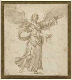 Staande engel, met gespreide vleugels