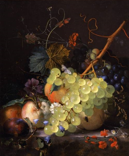 Still-life of grapes and a peach on a table-top