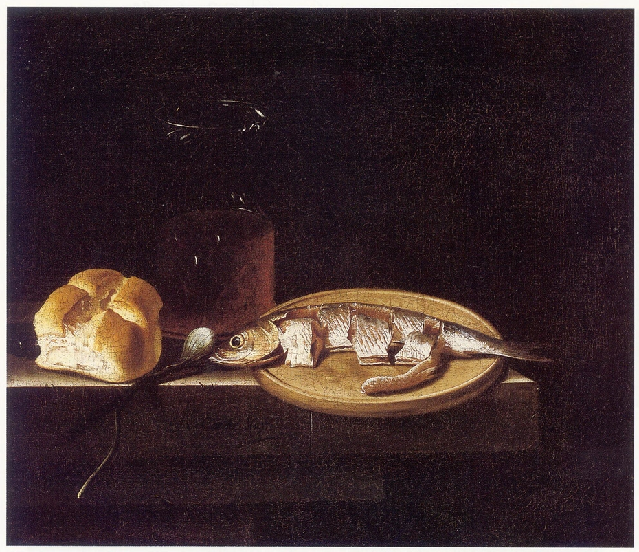 Still Life with Herring, Bread, and Glass of Beer