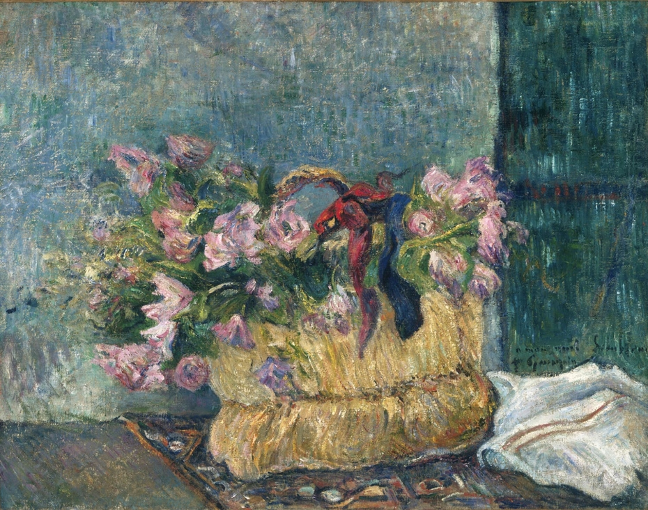 Still Life with Moss Roses in a Basket