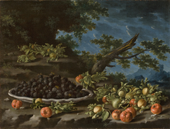 Still Life with Plate of Blackberries Antilles Cherries and Hazelnuts in a Landscape