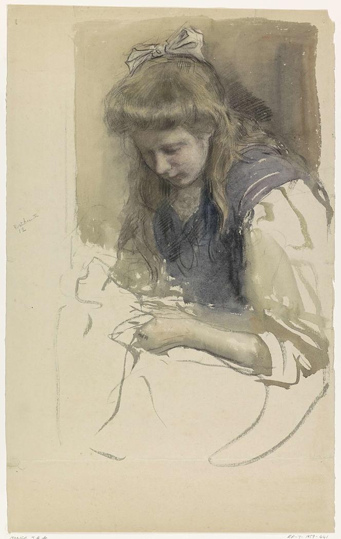 Studie van een handwerkend meisje in matrozenjurk