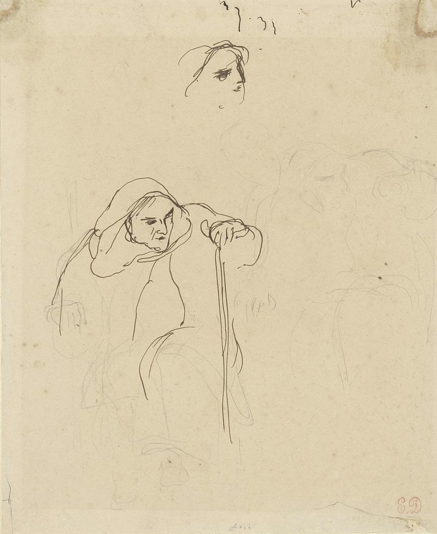 Studies van een oude, op een stok leunende vrouw