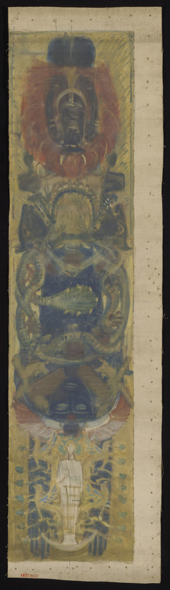 Study for the Boston Public Library Murals: Pagan Heads, for aVault