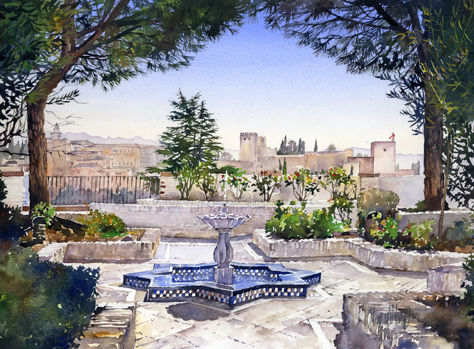 The Alhambra from the Gardens of the Mezquita, Granada