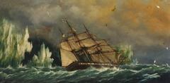 The ship Essex near icebergs
