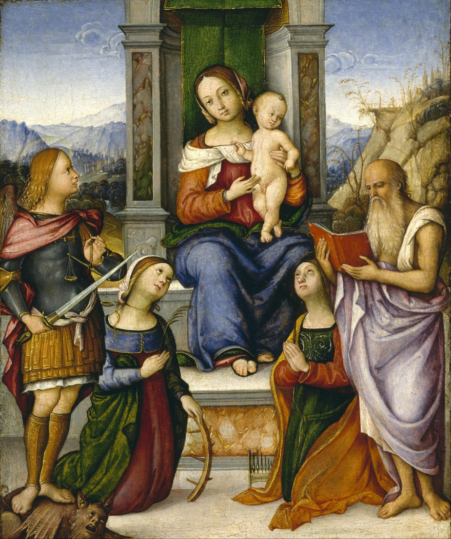 The Virgin and Child Enthroned with Saints Michael, Catherine of Alexandria, Cecilia, and Jerome
