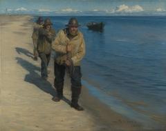 Three Fishermen Pulling a Boat.