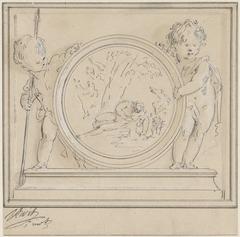 Twee putti met medaillon, waarin Narcissus en Echo
