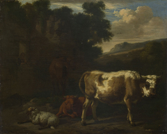 Two Calves, a Sheep and a Dun Horse by a Ruin