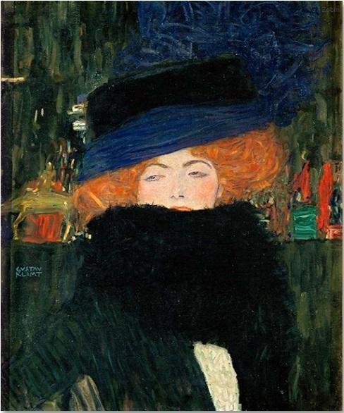 Dame mit Hut und Federbos