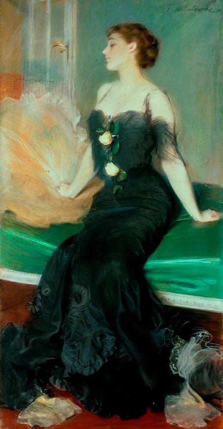 Portret damy w czarnej sukni