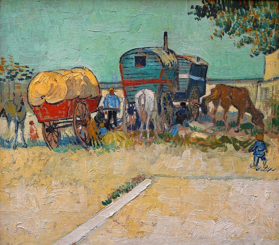 The caravans gypsy camp around Arles