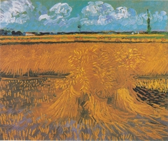 Wheatfield with sheaves of grain