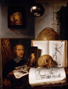 Vanitas still life with skull, books, prints and paintings, with reflected self-portrait