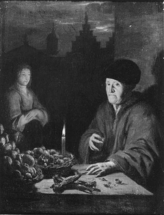 Vegetable seller in candlelight