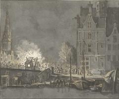Verbranden der douanehuisjes bij de Nieuwebrug te Amsterdam