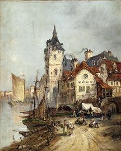 Vista de una ciudad junto al mar
