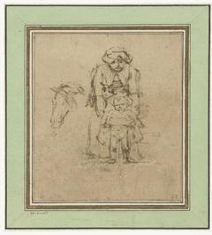 Vrouw met plassend kind en een paardenhoofd