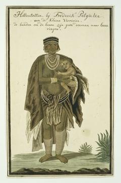 Vrouw van de Khoi met kind op de arm