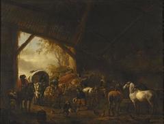 Wagons in a Barn