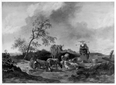 Weidelandschaft mit Vieh und Hirtin