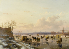 Winter landscape with skaters, Haarlem in the distance