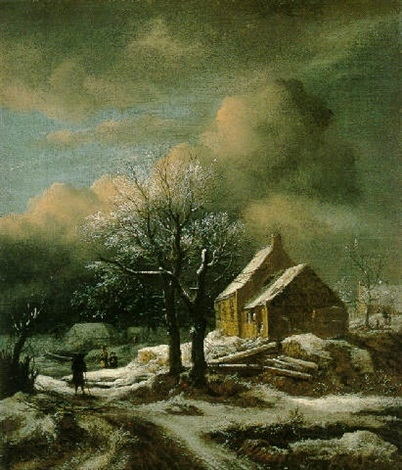 Winter Landscape with Trees and a Cottage