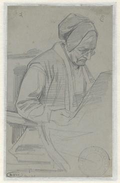 Zittende lezende oude vrouw