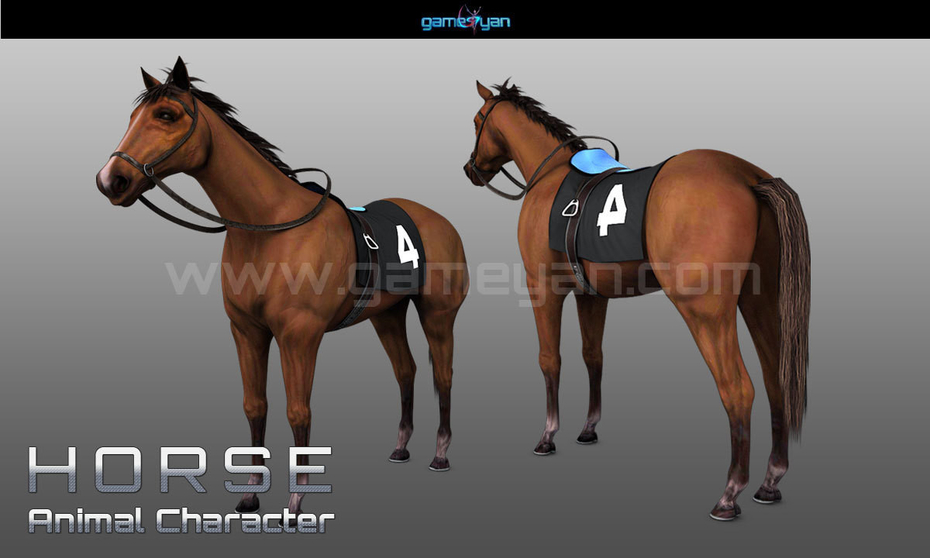 3D Horse Animal Character Modelling With GameYan Character Design Companies - Los Angeles, USA