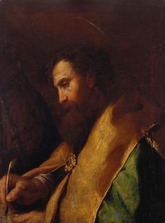 A Bishop Saint writing