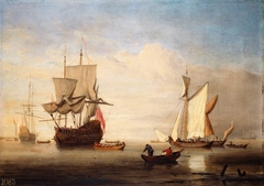 A Calm: an English Three-Decker Drying Sails with two Galliots near her