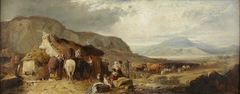 A Highland landscape with figures and animals by a cottage