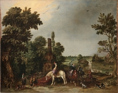 A Hunting Party Halting by an Ancient Fountain, a Landscape with a Rainstorm Beyond