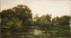 A River Landscape with Storks