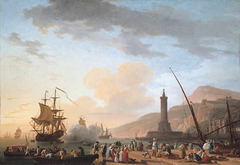 A Seaport at Sunset