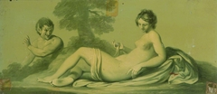 A Set of 16 Monochrome Painted Panels of Mythological Scenes: a Reclining Nude and Satyr