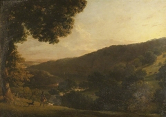 A View on the River Dart, Devon, with a Man with a Gun