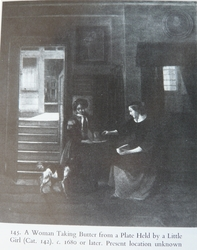 A Woman Taking Butter from a Plate Held by a Little Girl