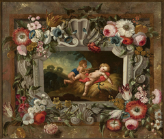 Allegory of summer in a circle of flowers