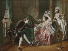An Interior with a Lady, her Maid, and a Gentleman