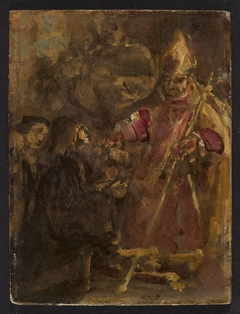 Bishop Lubrański establishes the Ecclesiastical Academy in Poznań, sketch