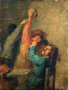 Brawl between peasants playing dice