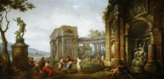 Capriccio of Figures dancing amongst Classical Ruins, with a Statue of the Rape of Proserpine