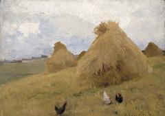 Chickens amongst Cornstooks